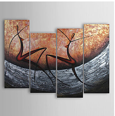 Abstract Dance Oil Painting Wall Art-Modern Canvas Wall Decor with Stretched Frame